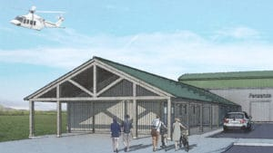 Artist's impression of Penzance Heliport with Isles of Scilly helicopter