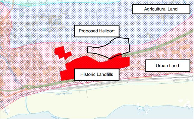 Map showing land classification around new Penzance Heliport site