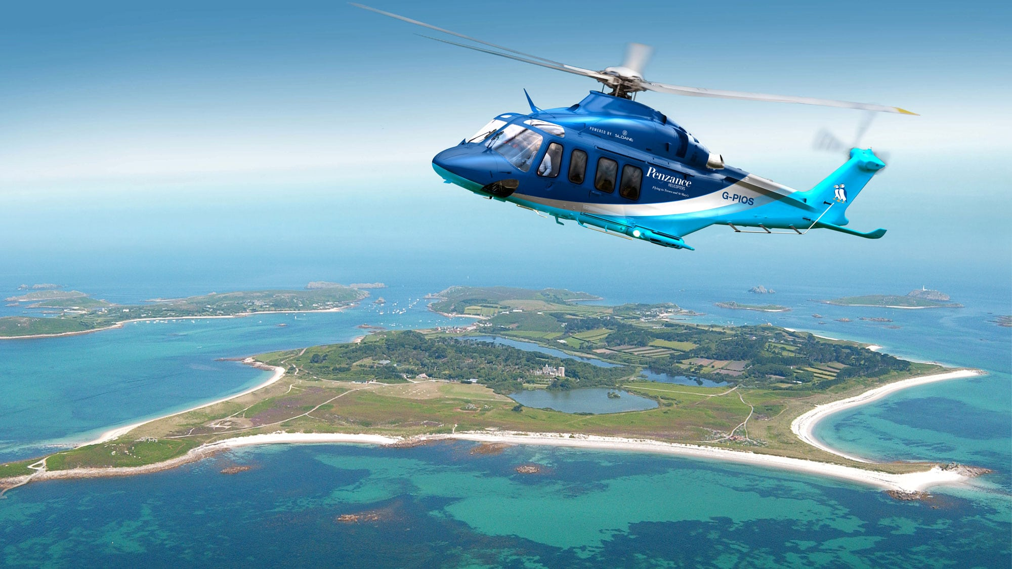 Penzance Helicopter over Tresco on the Isles of Scilly